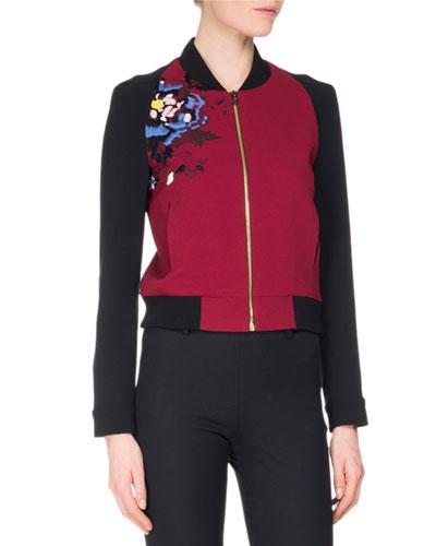 Rushenden Floral Embroidered Bomber Jacket, Red/Black