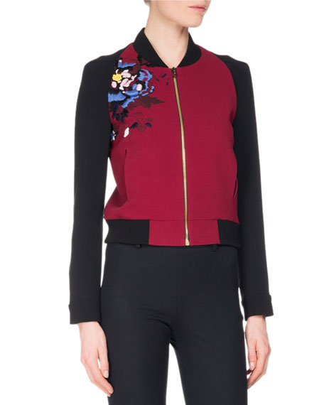 Rushenden Floral Embroidered Bomber Jacket, Red/Black