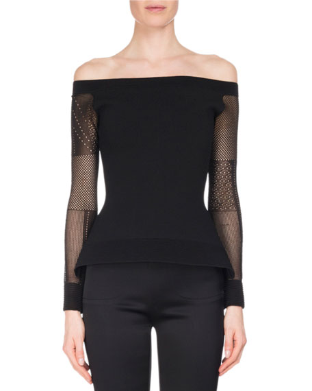 Roland Mouret Leafield Lace-Sleeve Sculpted Knit Off-the-Shoulder