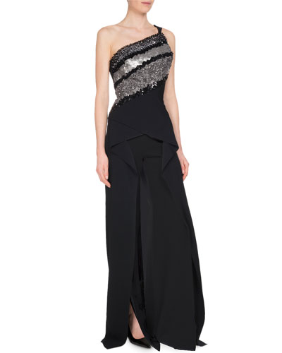 Sequined One-Shoulder Drape-Front Jumpsuit