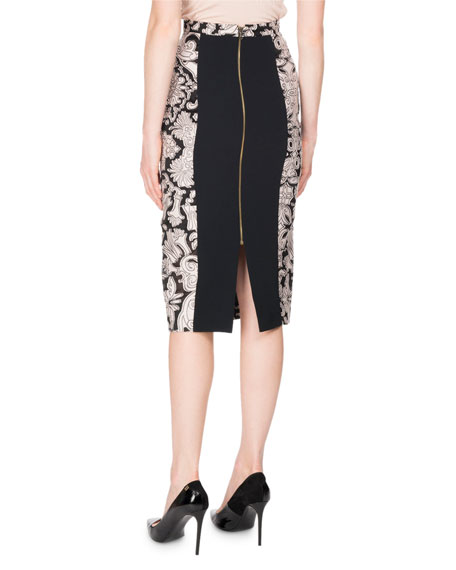 Norley Brocade Fil Coupe Pencil Skirt, Pink/Black
