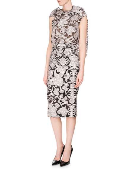 Roland Mouret Eugene Tie-Back Brocade Fil Coupé Top,