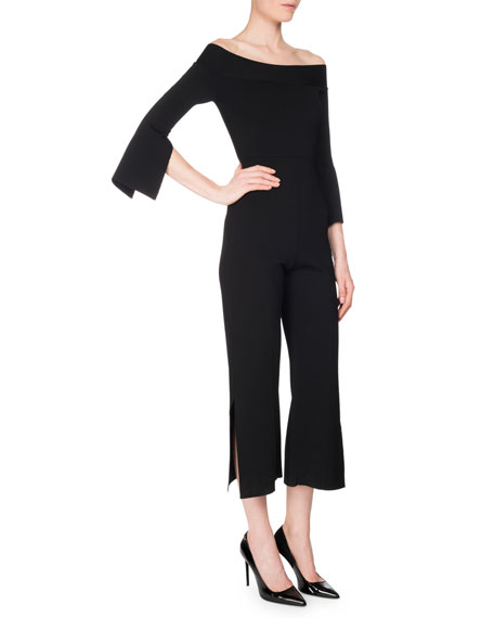 Felbridge Slit-Detail Off-the-Shoulder Jumpsuit, Black