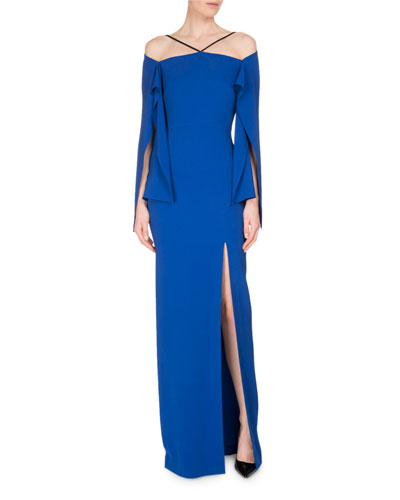 Cheveley Flutter-Sleeve Strappy Evening Gown, Royal