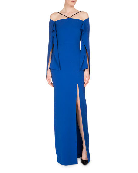 Roland Mouret Cheveley Flutter-Sleeve Strappy Evening Gown, Royal