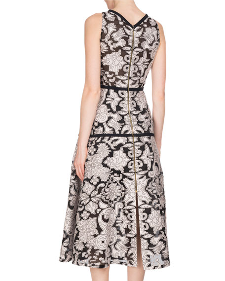 Letwell Sleeveless Brocade Fil Coupé Midi Dress