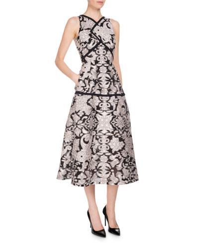 Letwell Sleeveless Brocade Fil Coupé Midi Dress, Pink/Black