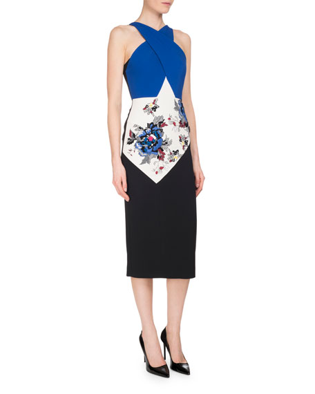 Roland Mouret Maxton Floral-Embroidered Colorblock Halter Dress,