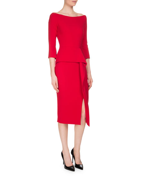 Roland Mouret Ardingly Off-the-Shoulder Peplum Dress, Rose