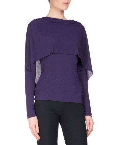 Bagnet Cowl-Neck Long-Sleeve Top, Dark Purple