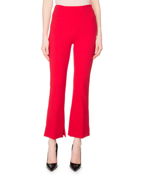 Roland Mouret Wellside Crepe Slim Cropped Boot-Cut Pants,
