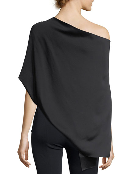 Heartwell One-Shoulder Embellished Cape Top