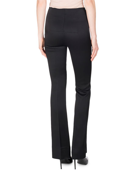 Citadel Silk-Satin Slim Boot-Cut Pants, Black