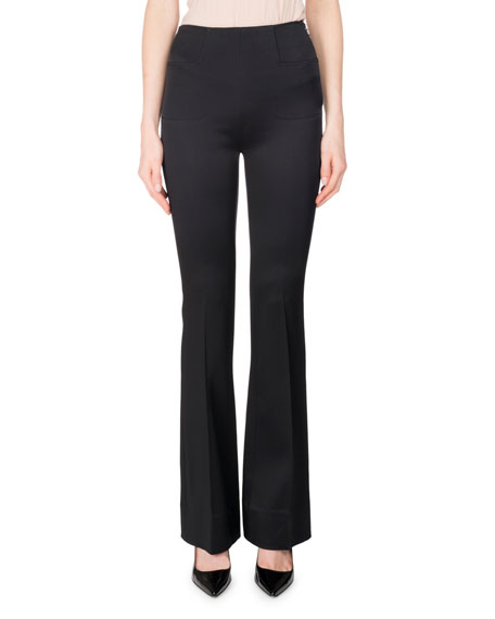 Roland Mouret Citadel Silk-Satin Slim Boot-Cut Pants, Black