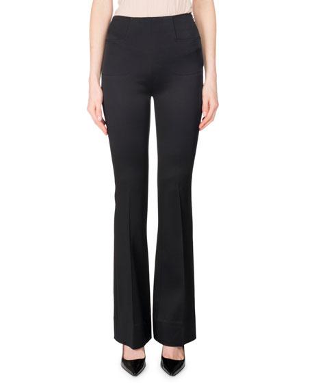 Citadel Silk-Satin Slim Boot-Cut Pants