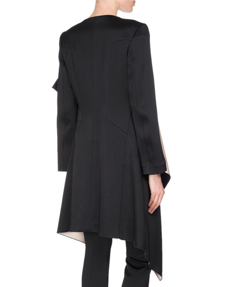 Studhan Draped Satin Open-Front Coat with Contrast Lining, Black/Pink