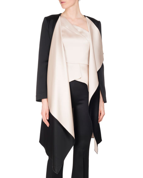 Studhan Draped Satin Open-Front Coat with Contrast Lining
