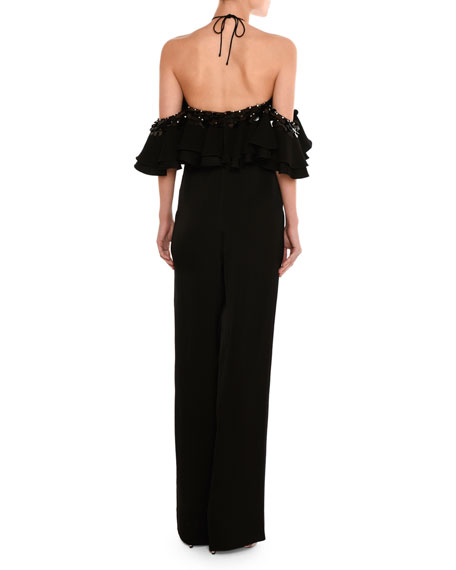 Embellished Off-the-Shoulder Halter Jumpsuit