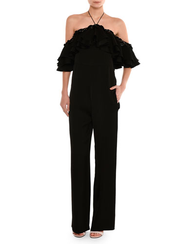 Embellished Off-the-Shoulder Halter Jumpsuit, Black