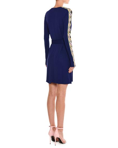 Wave-Stripe Long-Sleeve Wrap Dress, Purple