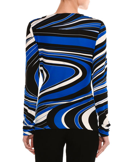 Wave-Print Long-Sleeve Wrap Top, Blue/Black
