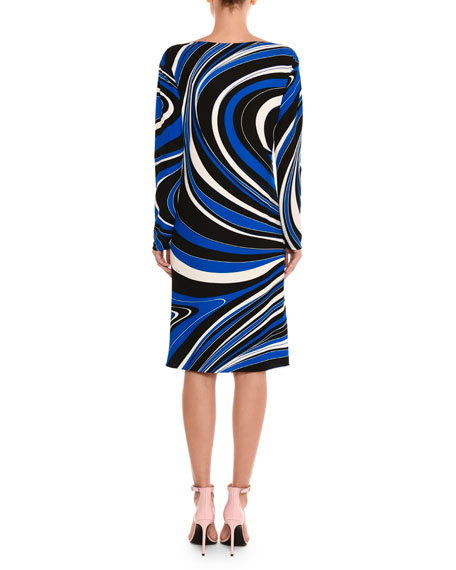 Marylin Wave-Print Long-Sleeve Dress