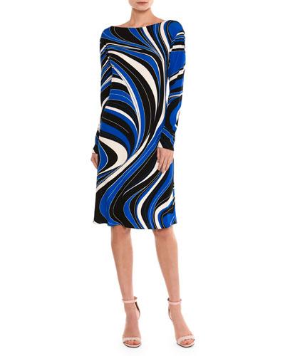 Marylin Wave-Print Long-Sleeve Dress, Blue/Black