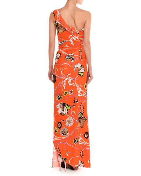 Draped One-Shoulder Floral Print Gown, Multicolor