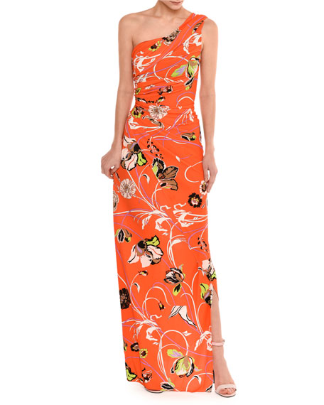 Emilio Pucci Draped One-Shoulder Floral Print Gown, Multicolor