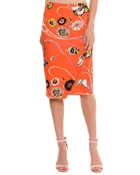 Emilio Pucci Floral-Print Mock-Wrap Skirt, Multicolor