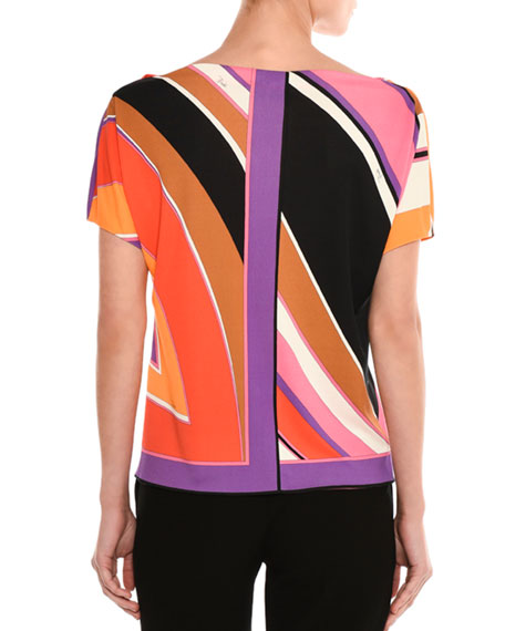 Striped Boat-Neck Top, Purple/Pink
