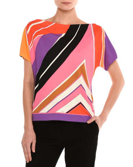 Emilio Pucci Striped Boat-Neck Top, Purple/Pink