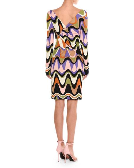 Draped Reversible Long-Sleeve Dress, Purple/Green