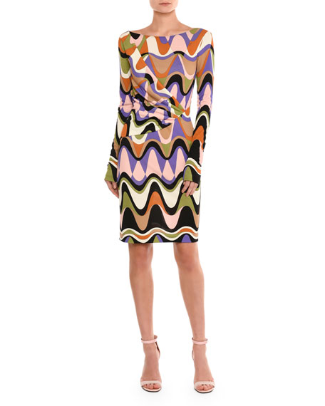 Emilio Pucci Draped Reversible Long-Sleeve Dress, Purple/Green