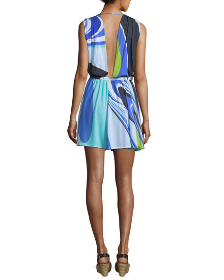 Halter Jersey Maxi Dress, Blue/Green