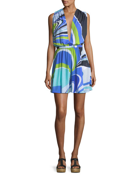Emilio Pucci Halter Jersey Maxi Dress, Blue/Green