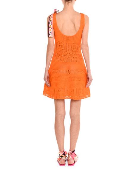 Sleeveless Crochet Fit & Flare Dress, Orange