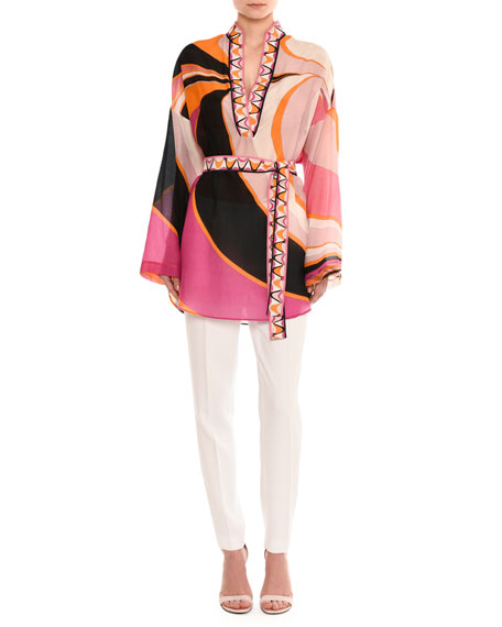 Emilio Pucci Dragonfly Long-Sleeve Belted Tunic Top, Pink/Orange