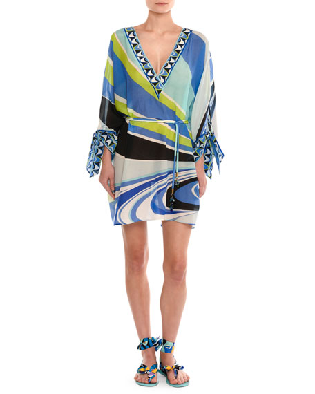 Emilio Pucci Dragonfly V-Neck Tie-Sleeve Tunic Top, Blue/Green