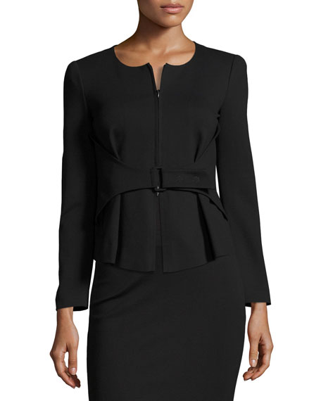 Armani Collezioni Milano Jersey Belted Zip-Front Jacket, Black
