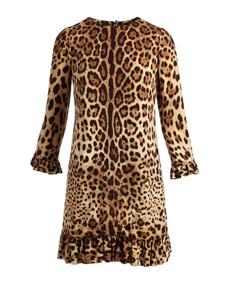 3/4-Sleeve Stretch-Cady Cocktail Dress, Leopard