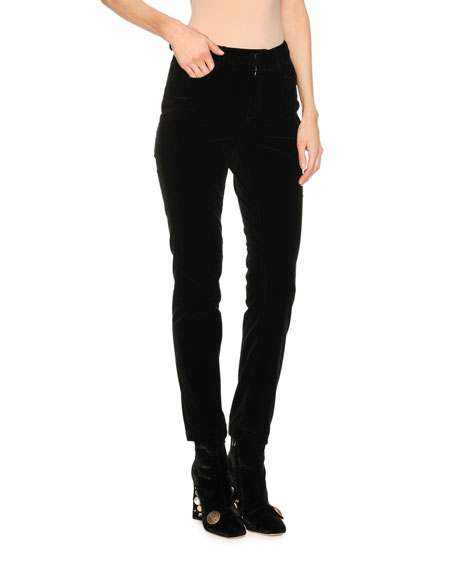 Dolce & Gabbana Velvet Straight-Leg Pants, Black and