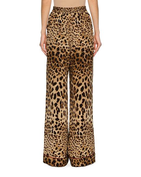 Leopard-Print Silk Wide-Leg Pajama Pants, Leopard
