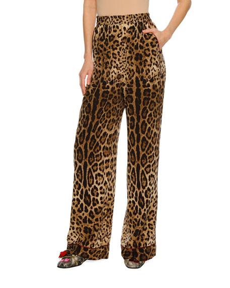 Dolce & Gabbana Leopard-Print Silk Wide-Leg Pajama Pants,