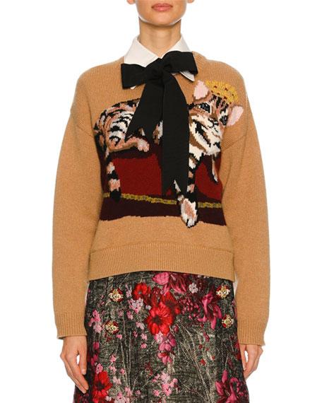 Dolce & Gabbana Knit Sweater w/Cat Intarsia, Nude