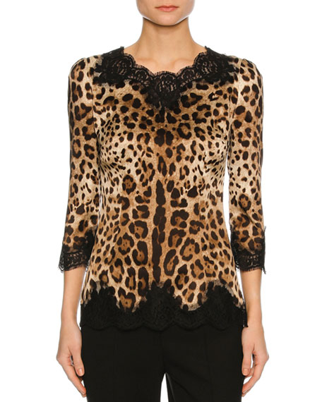 Lace-Inset Satin 3/4-Sleeve Blouse, Leopard