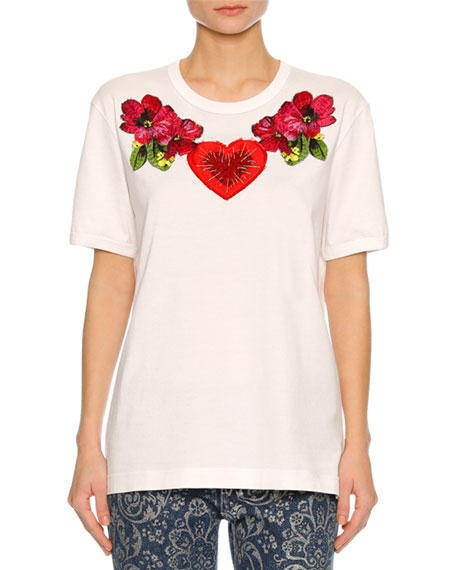 Dolce & Gabbana Heart & Floral Embroidered T-Shirt,