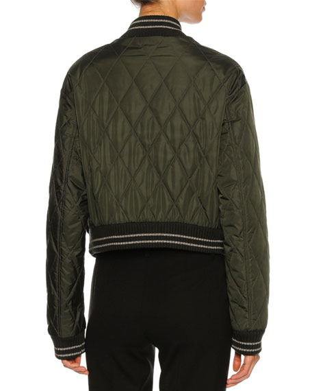 Quilted Floral-Embroidered Bomber Jacket, Olive
