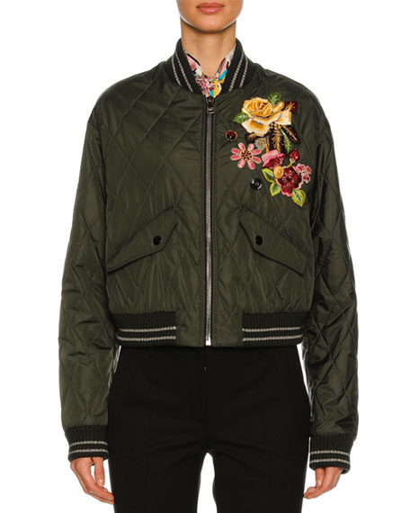 Dolce & Gabbana Quilted Floral-Embroidered Bomber Jacket, Olive