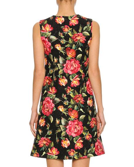 Sleeveless Macro Rose-Print Dress, Black Pattern
